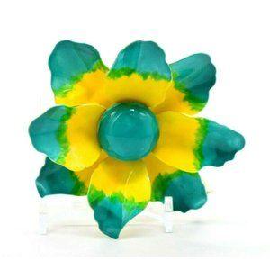 Weiss Blue Green Yellow Enamel Flower Mid Century